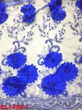Pretty flower 3D lace fabric ,french beaded Net lace ,lace fabric 3D flower net fabric for making wedding dress