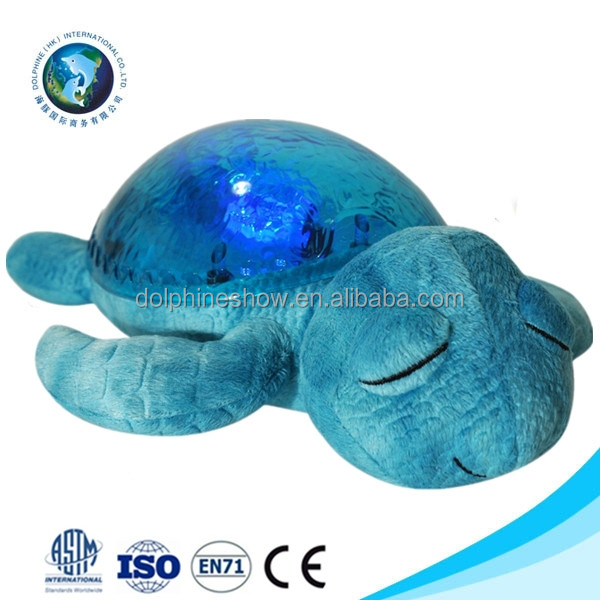 Promotional gift 3D led stuffed animal baby night light toy custom cute musical kid plush soft blue turtle night light
