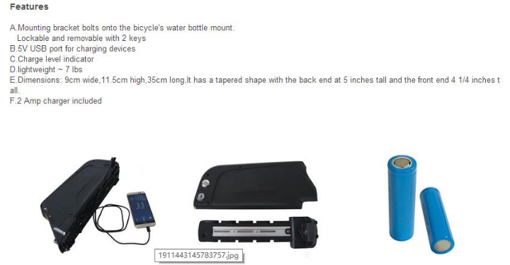 factory down tube 36v 48v Dolphin lithium electric bike li-ion battery