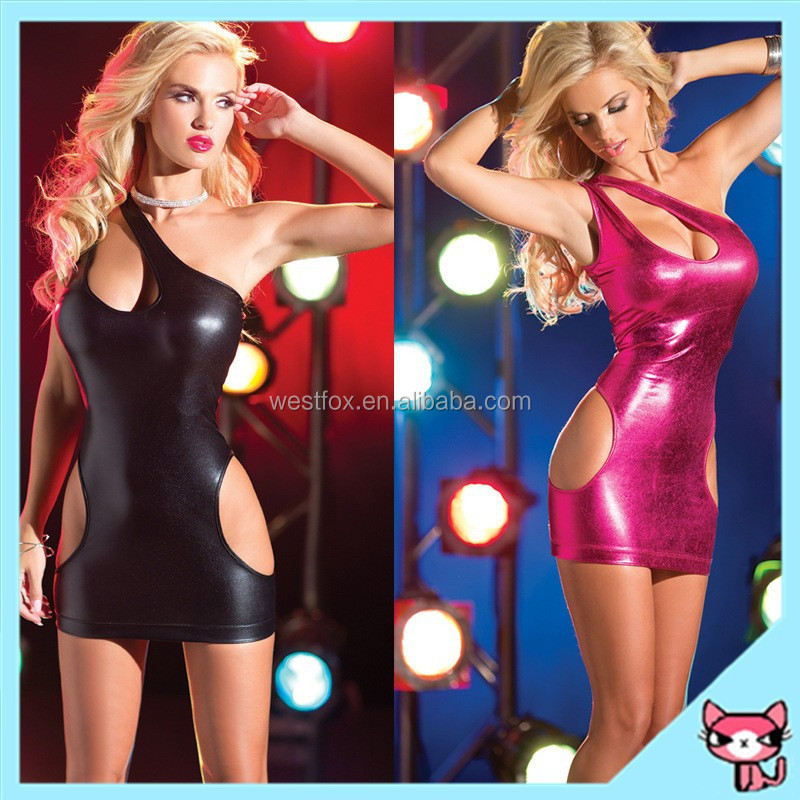2015 Patent Leather Lingerie Red and Black One Piece Performance Dress Night Club Wear