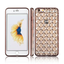 C&T 3D Sparkling Glitter Clear Diamond Grid Soft TPU Plating Mobile Phone Case for iPhone 6S