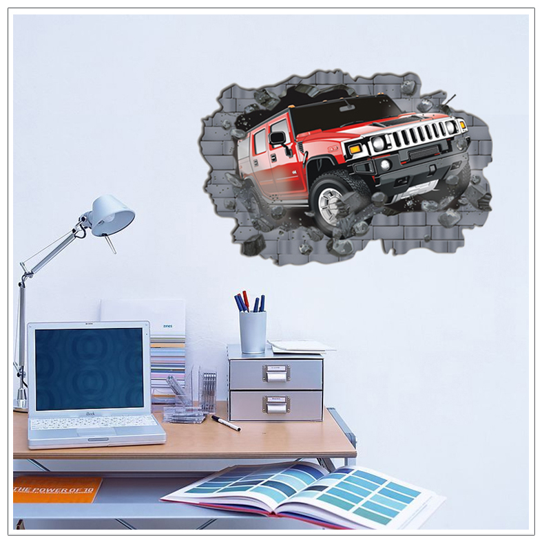 8002 Oh Crash Lifelike 3D Effect UV Matting Surface 3D Wall Sticker