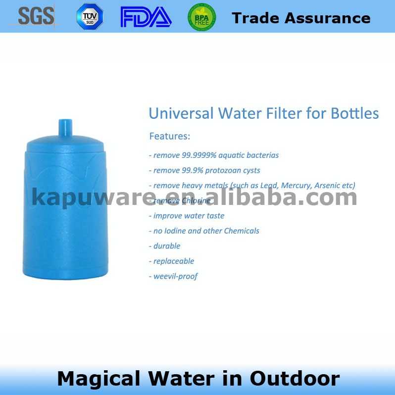water filter replacement for any bottle with pp cotton, coconut shell activated carbon rod, hollow fiber uf membrane