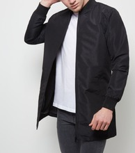 Quality blank fashion black cool jacket custom mens longline satin bomber jacket