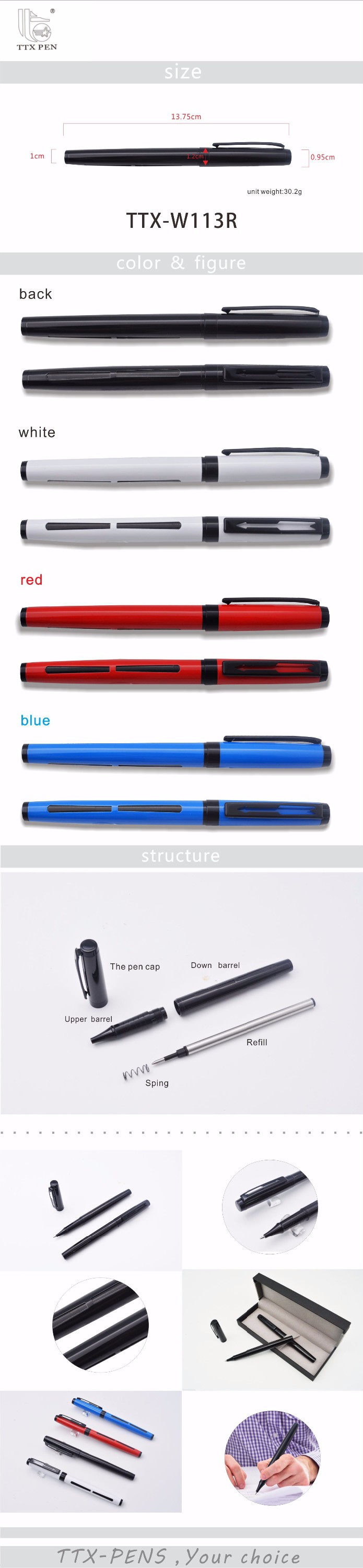 Exquisite design heavy metal gift pens office stationary metal roller pen