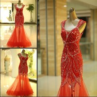 SJ1362 red v-neck can custom made good quality low price tulle crystal 2014 prom dress