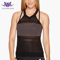 Customize private lable fitness wear sexy girl's workout yoga tank top polyamide elastane sheer mesh athletic tank top