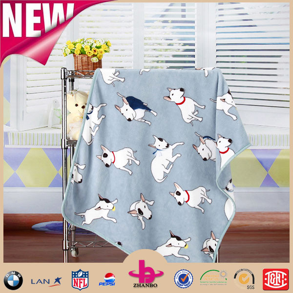 100% polyester microfiber Organic Swaddle Puppy Dog Printed Disposable and Portable Pocket Flannel Fleece Baby Blanket
