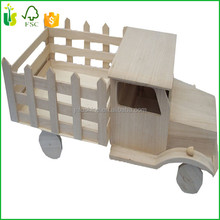 Vintage Folk Art Toy Wood Wooden Farm Truck Tractor Pick Up Truck