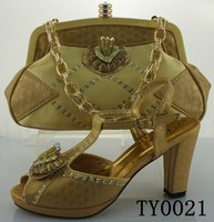 2014 Best Quality italian shoes and matching bags gold fashion women shoes