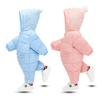 Winter fashion warm toddler hooded snowsuit baby down rompers baby winter rompers