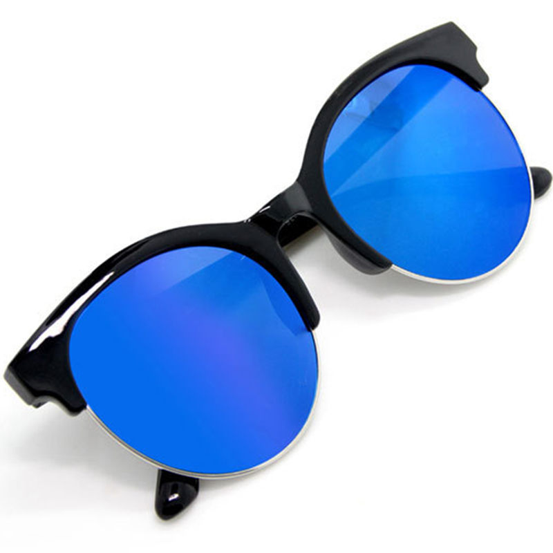 c97d7bb1dac New fashion Vintage round Sunglasses men metal half frame Cat Eye glasses  black gray blue gold