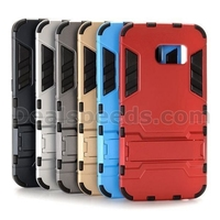Hybrid PC+ TPU Slim Armor Case for S6 Edge G9250 Samsung Galaxy with Kickstand- Gold