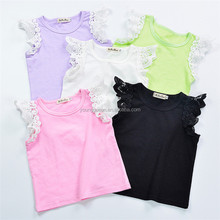 JB29 explosion of children's summer flower candy color lace sleeves short sleeves T-shirt fast selling supply