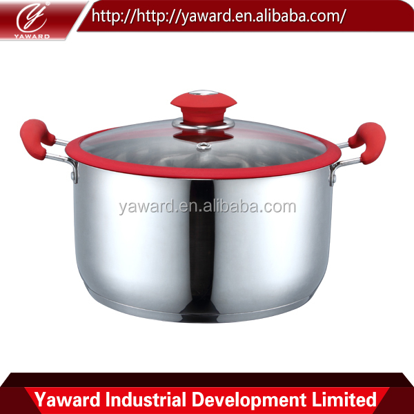 Hot Selling Solicone Handle Stainless Steel Casserole Hot Pot