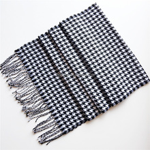 Fashionable cheap 30 colors winter houndstooth cashmere grid scarf shawl for ladies