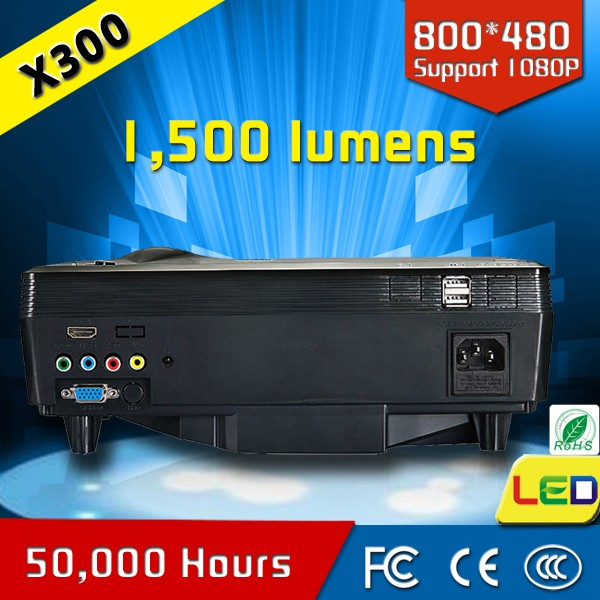 CRE 1500 lumens led logo home cinema projector with USB port