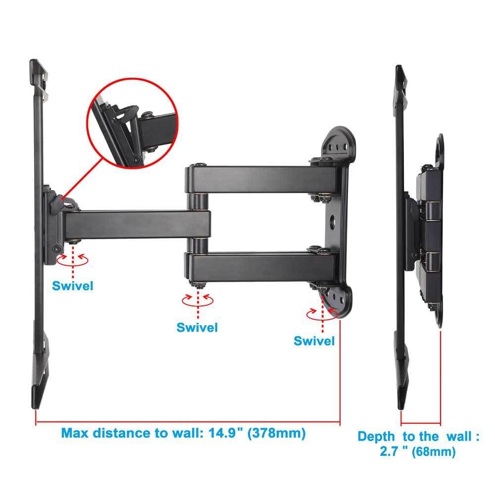 Full-motion Swing arm wall mounts TV bracket TV holder MD2381 Fits for most 26-55 inches Plasma,LCD and LED TVs
