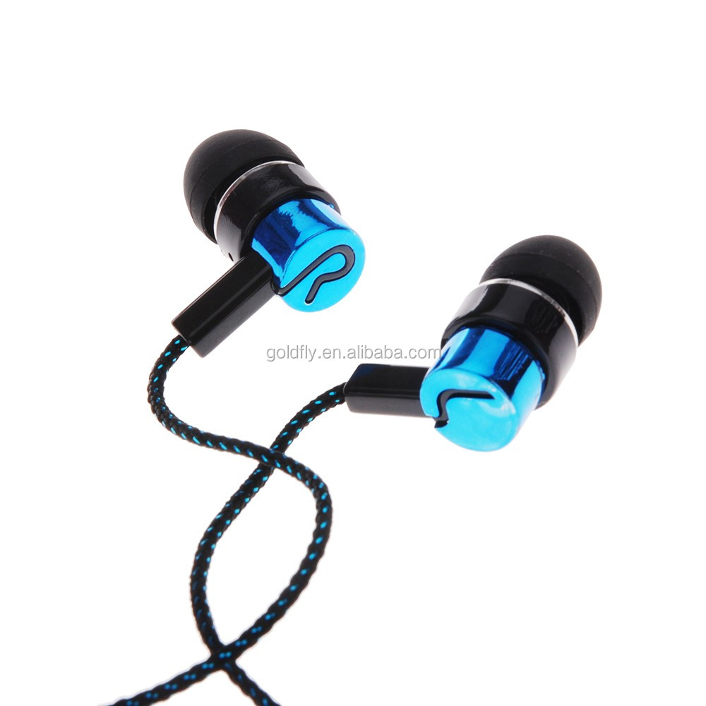 Earphones Jack Standard Noise Isolating 1.1M Reflective Fiber Cloth Line 3.5mm Stereo In-ear Earphone Earbuds Headphones
