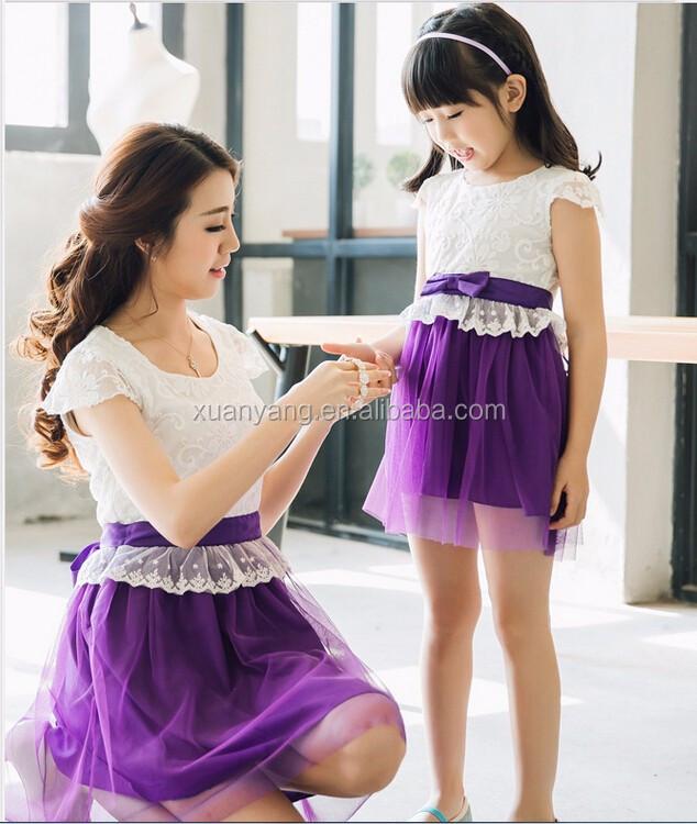 moda nios vestido de la muchacha del desgaste del partido madre hija matching ropa para el