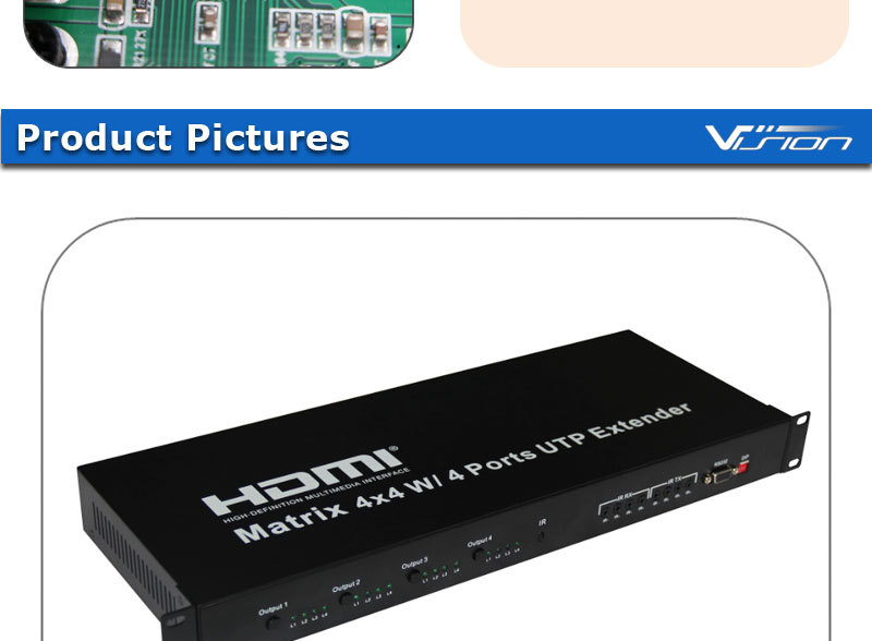 2016 latest HDMI matrix 4x4 with 4 ports UTP extender