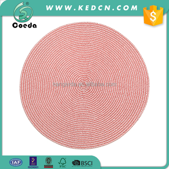 Braided Round Plastic Heat Resistant Placemat for Dining Table