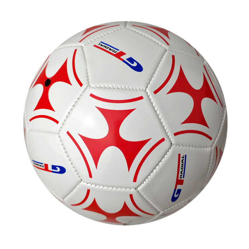 white pvc soccer ball size 5 machine stitching <strong>football</strong> with red logo printing
