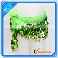65 Gold Coins Sequins Make Belly Dance Hip Scarf Green (11002476)