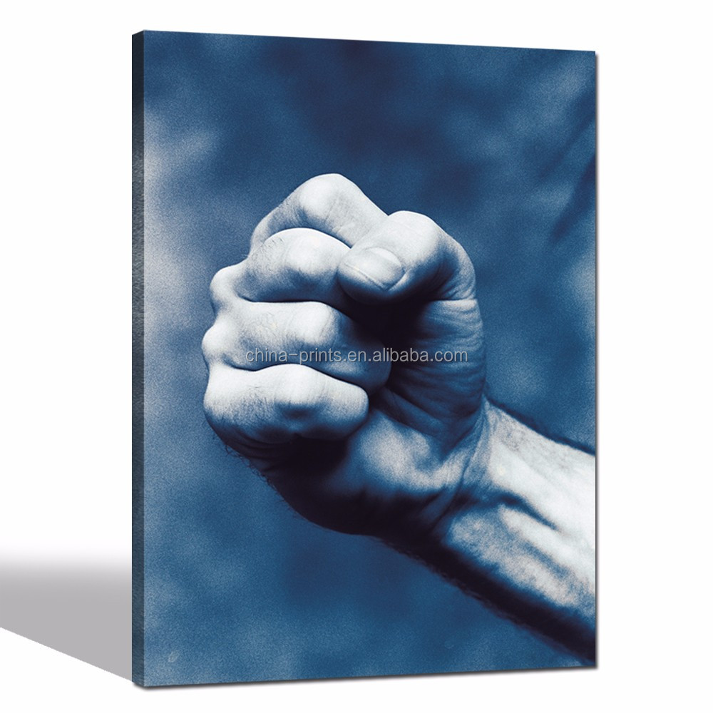 Men Fist Canvas Prints for Wall/Strong Powerful Poster for Bedroom/Vintage Pop Canvas Wall Art