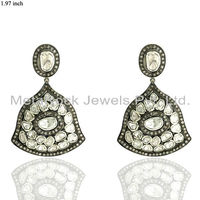 Women 14k Yellow Gold Rose Cut Diamond Pave 925 Sterling Silver Earrings Vintage Victorian Jewelry