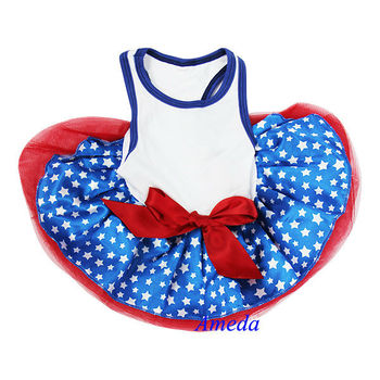 Blue Star Red White World Cup Football Flag Australia USA Dogs Clothes Party Dress XS-L