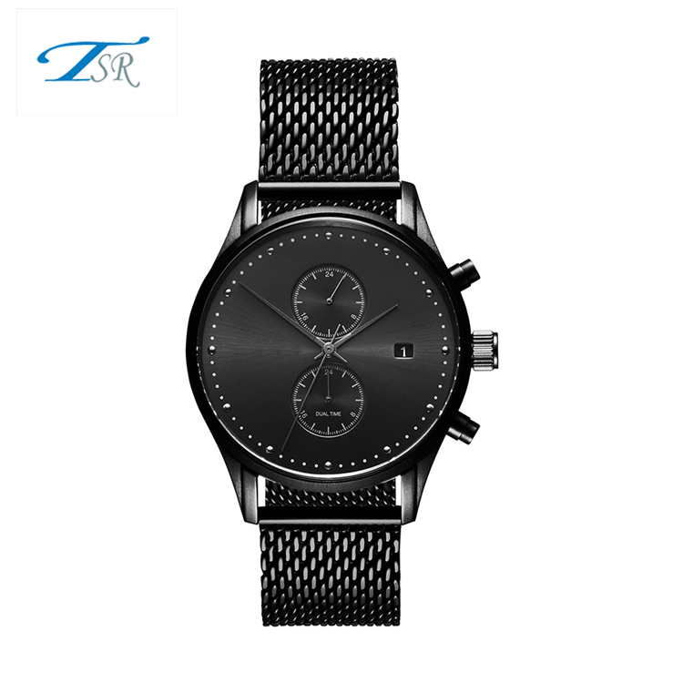 2018 Black Mesh Band Nylon Strap Japan Movement Stainless Steel Case Mens Wrist Watches