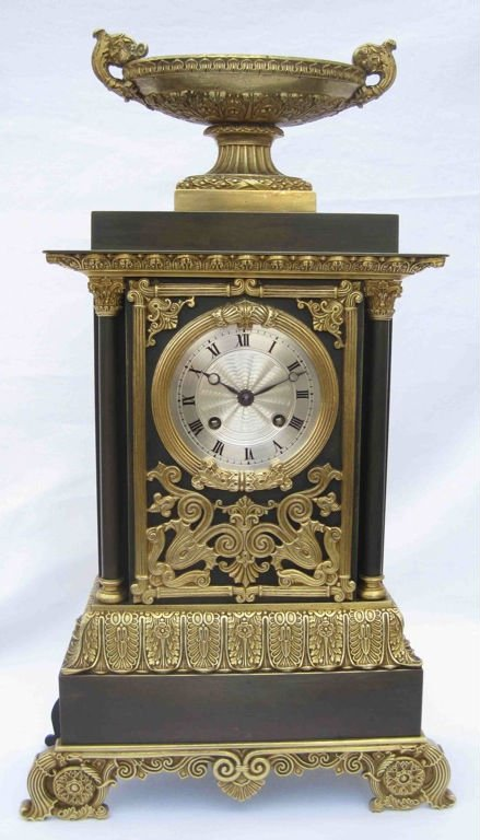 Authentique antique French fire gilt bronze table clock, Charles X. period