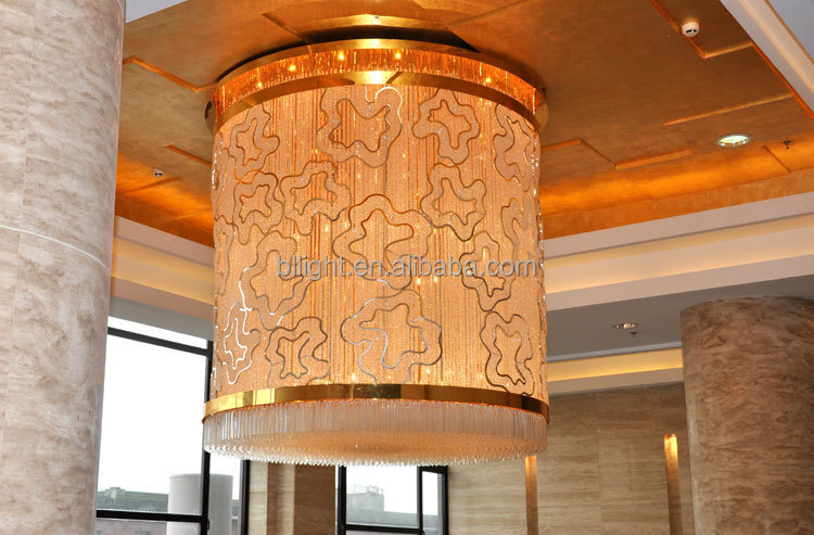 luxury golden large hotel lights and lobby decor pandant lighting