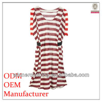 Simple Korean fashion clothes ladies loose-fitting stripe printed cotton latest casual dress
