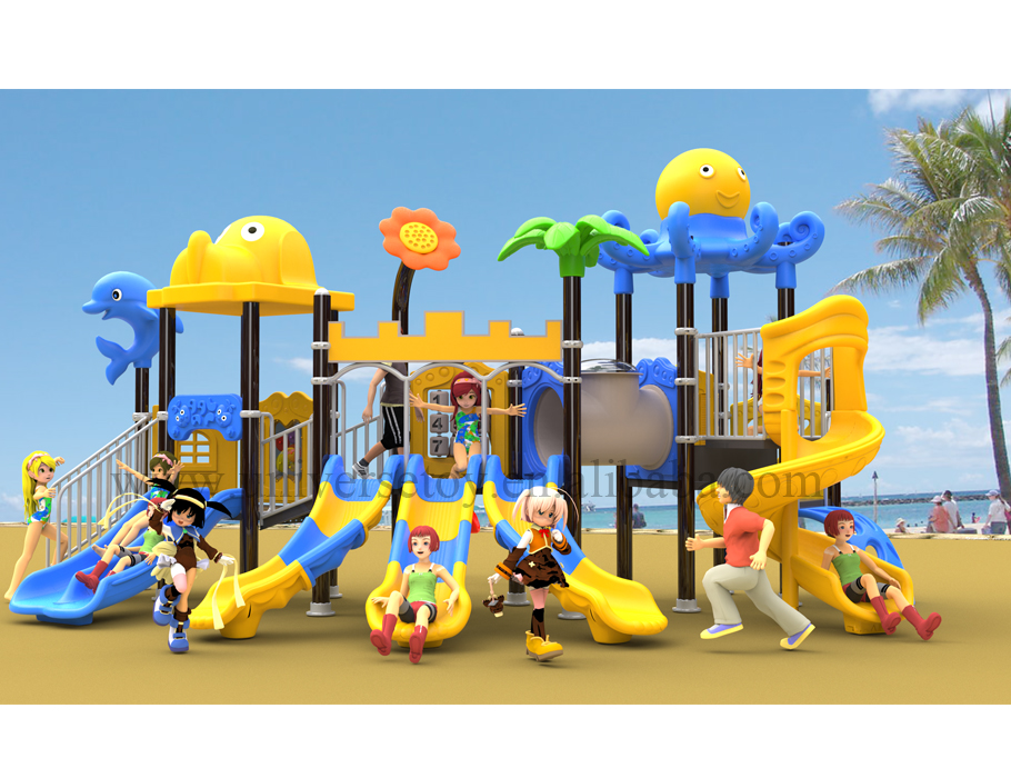 Ocean serises style three lane plastic slide outdoor funny playground <strong>equipment</strong>