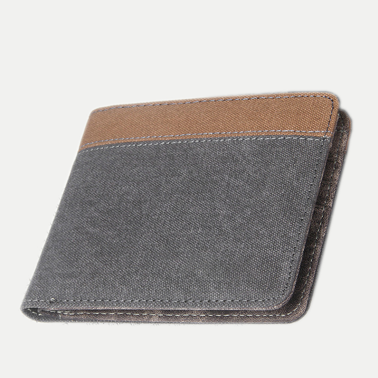 Wholesale Vintage Leather Foldable Canvas Coin Purse Card Holder <strong>Wallet</strong> for Men