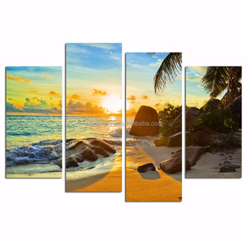 Seascape Canvas Picture for Hanging/Sea Sunrise Canvas Art/Beach Landscape Wall Picture