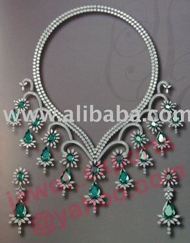 925 Silver AD & Emerald/Jade/Peridot Necklace Jewelry Set
