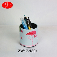 Custom Pu Cardboard office desk mobile Pen Holder With Logo
