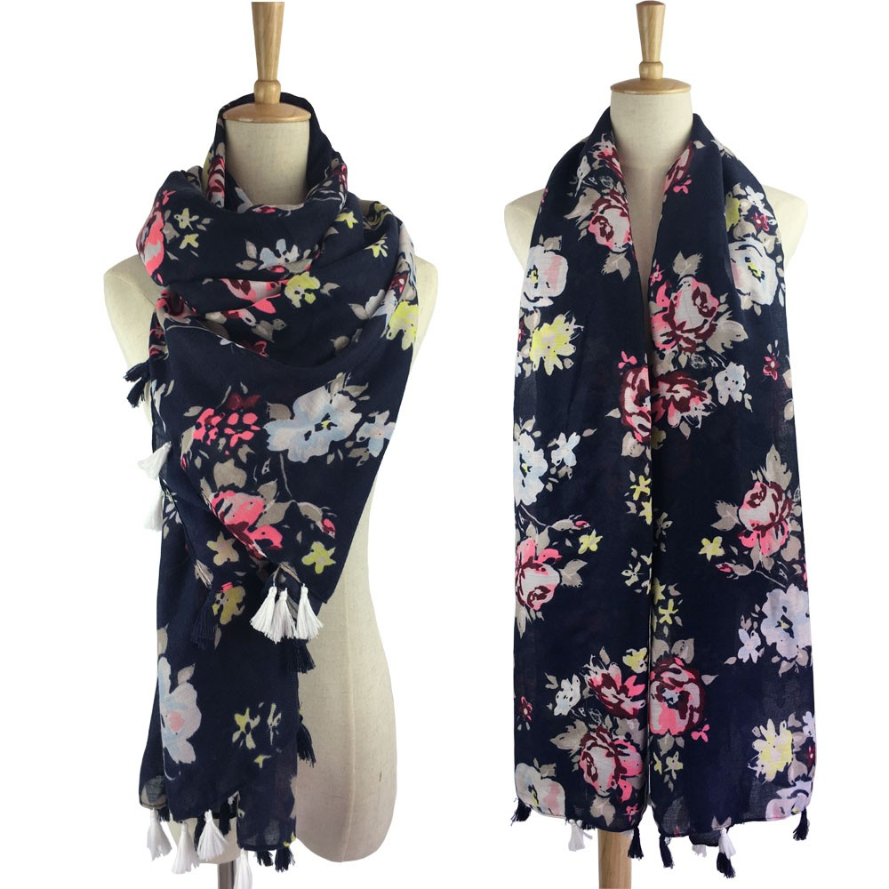 Wholesale Flowers Print Fashion Women <strong>Scarves</strong> with Tassel