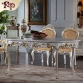 antique italian furniture - all silver foil baroque hand carved dining table