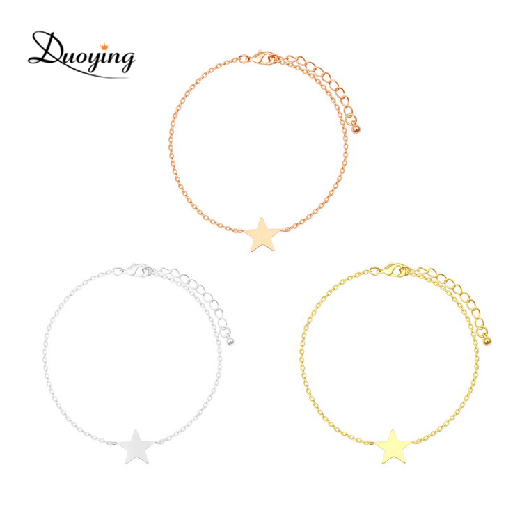 Minimalist Jewellery Girl's Fashion Accessories Star Charm Silver/Gold/Rose Gold Option Gold Plated Bracelet