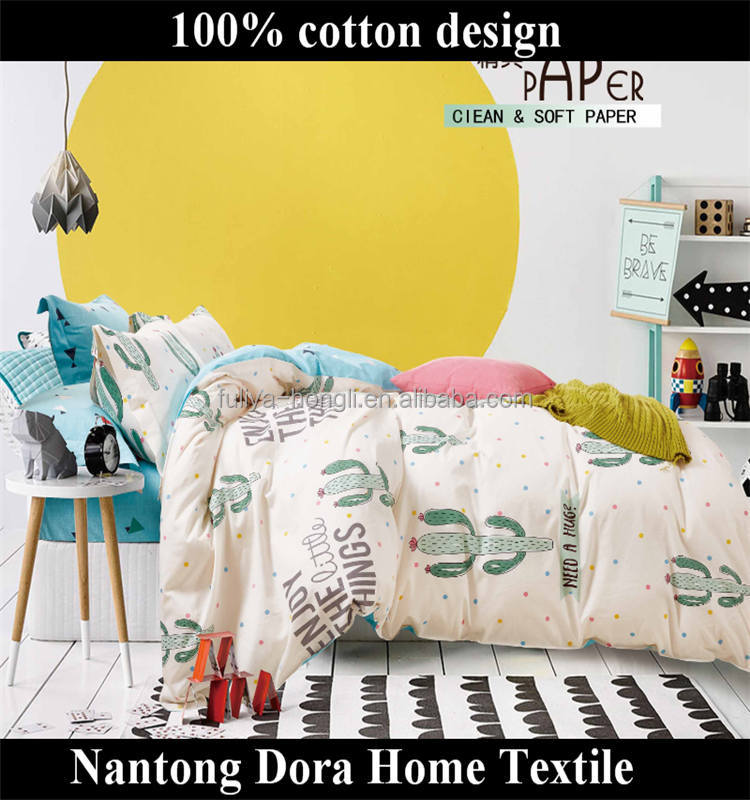 cute green Cactus full comforter sheets comfort cotton bedclothes/wholesalers luxury plaid quilt coverlet