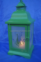 Green Metal Christmas Tea Light Lantern Xmas Decoration Candle
