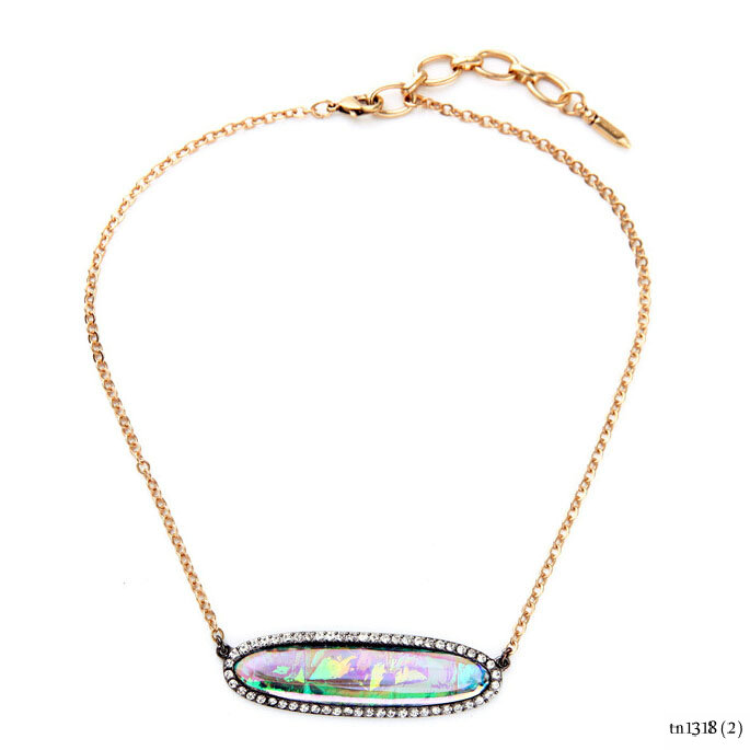 Fashion Pendant Oval Semi-precious with Crystal Colorful Stone Bar Necklace