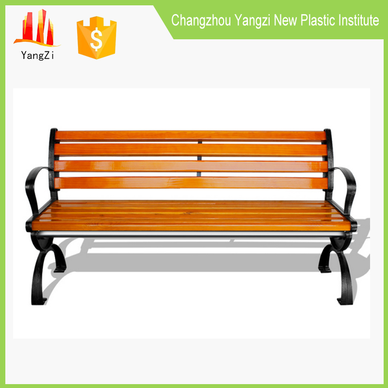 outdoor park bench for public park with cast iron legs