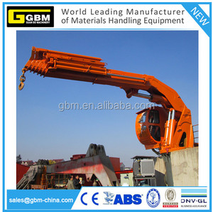Knuckle boom hydraulic telescoping marine deck crane