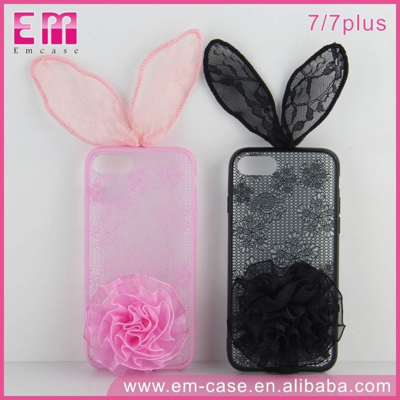 New Design Lace Back Cover For iPhone 7 TPU Jelly Rabbit case for iPhone 7 7 Plus