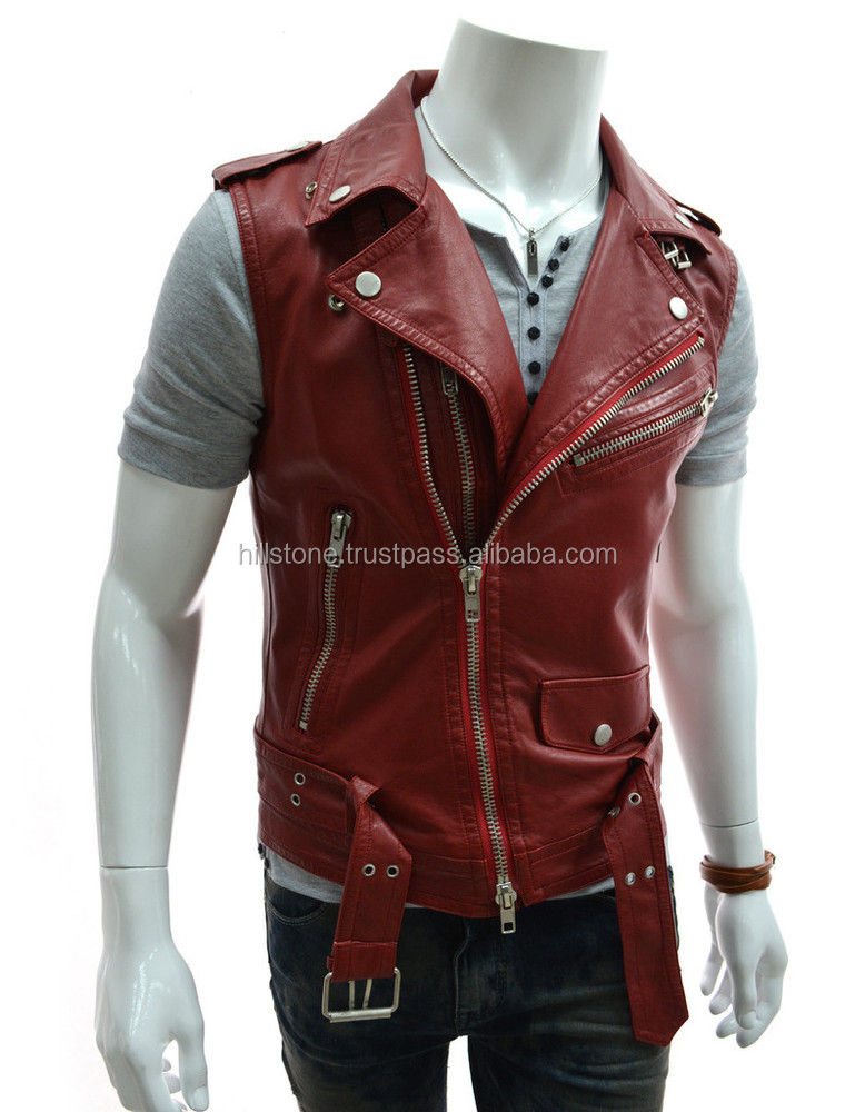 Men's Leather Motorcycle Vest for Fall Season